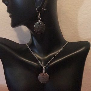Jewelry - ANTIQUE  SILVER NEVER GIVE UP SET (HANDMADE)