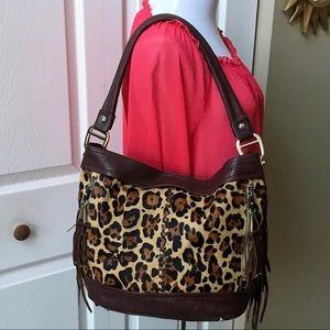 B. Makowsky Cowhide Leather Hobo Handbag