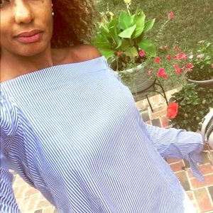 Tops - Off the Shoulder Blue and White-Striped Top