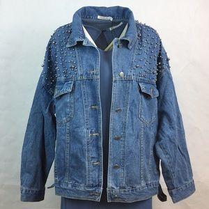 Jackets & Blazers - Studded shoulder plus size jean jacket