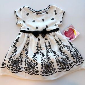 Black & White Floral Toddler Dress