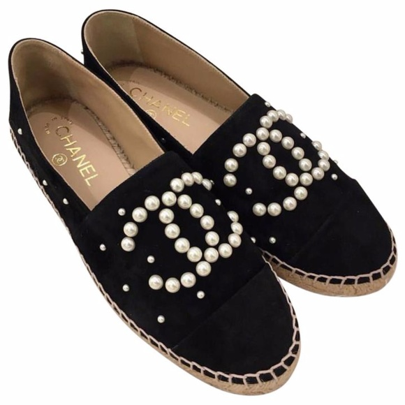 8d28ade0ae CHANEL Shoes | Black Suede Pearl Cc Espadrille Flats | Poshmark
