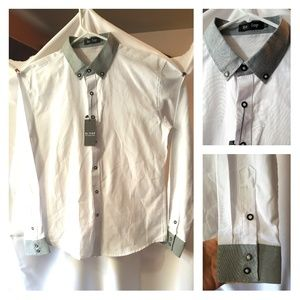 "Be Top Shirts - MEN'S White & Gray Business Shirt 15.5"" 33.5"" Trim"